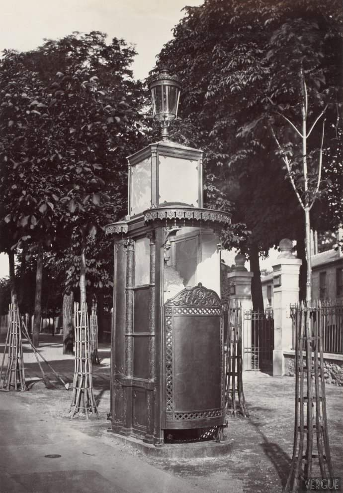 Urinal cast in two stalls with doors. Chaussee de la Muette, Paris XVI. Circa 1875.