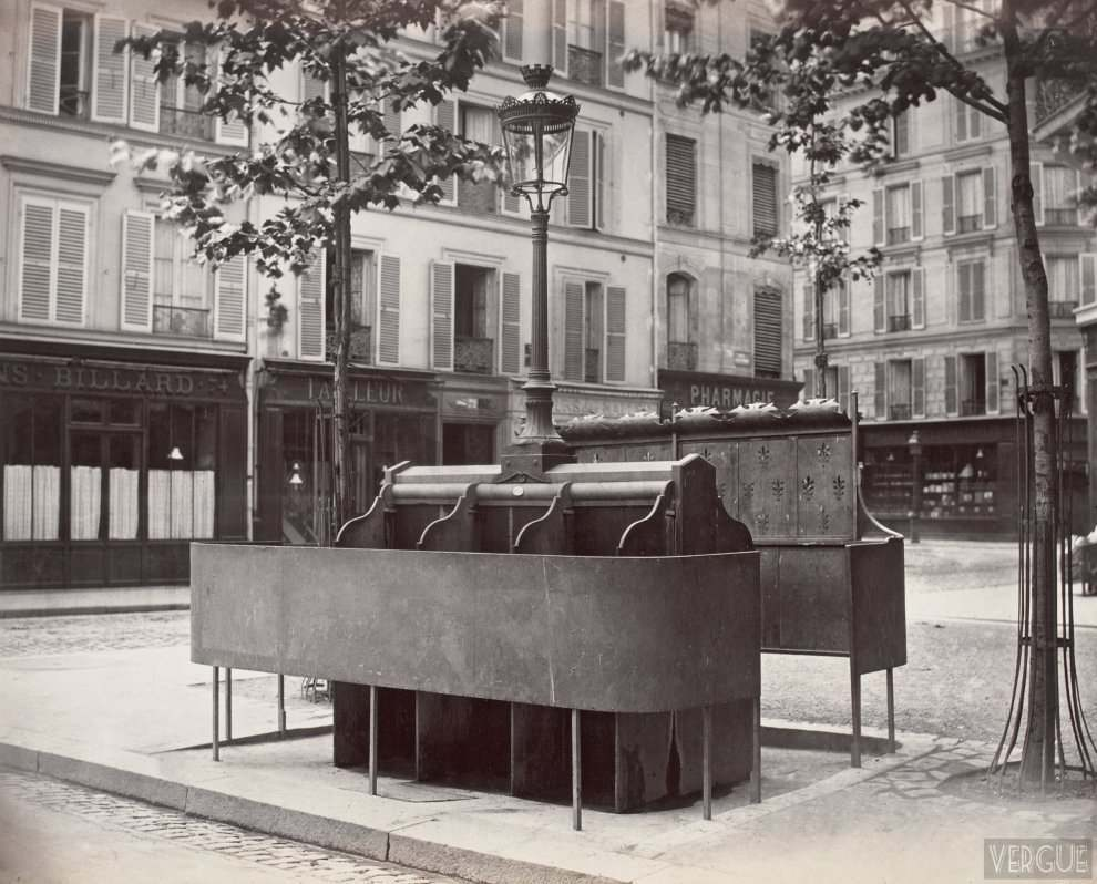 Urinal slate to 6 stalls with raised screen. Place of the Church, Paris XVII. Circa 1875.