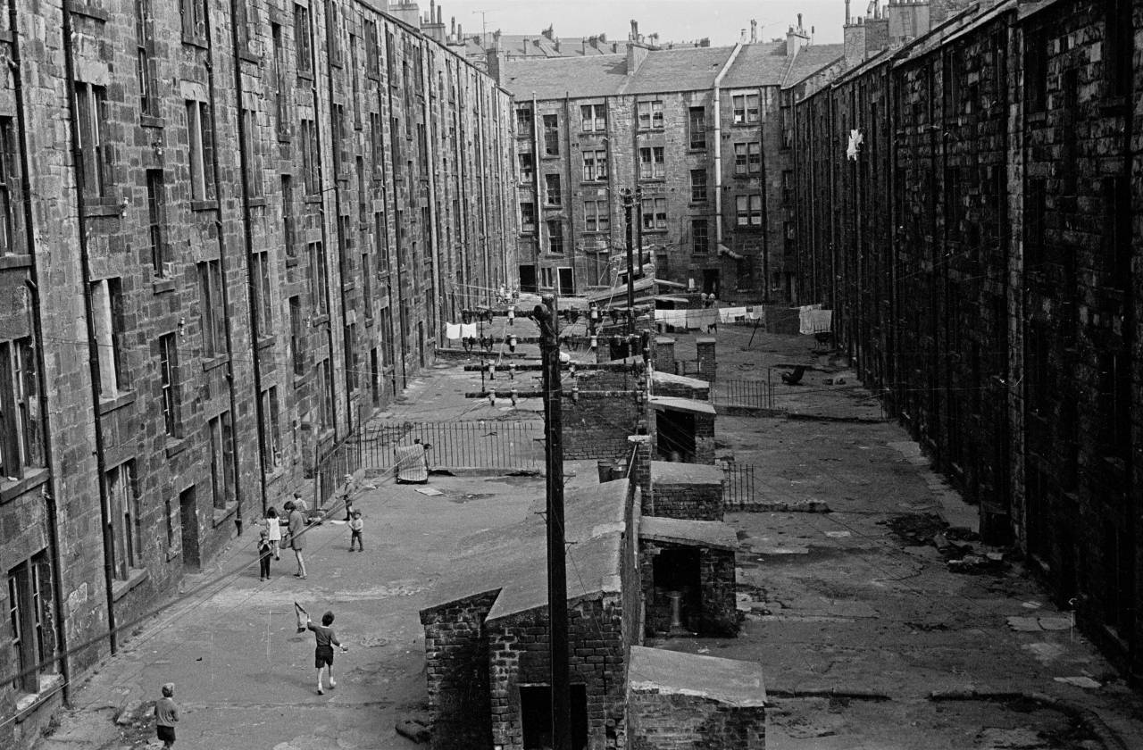 View of tenement backs Glasgow 1971 383-15