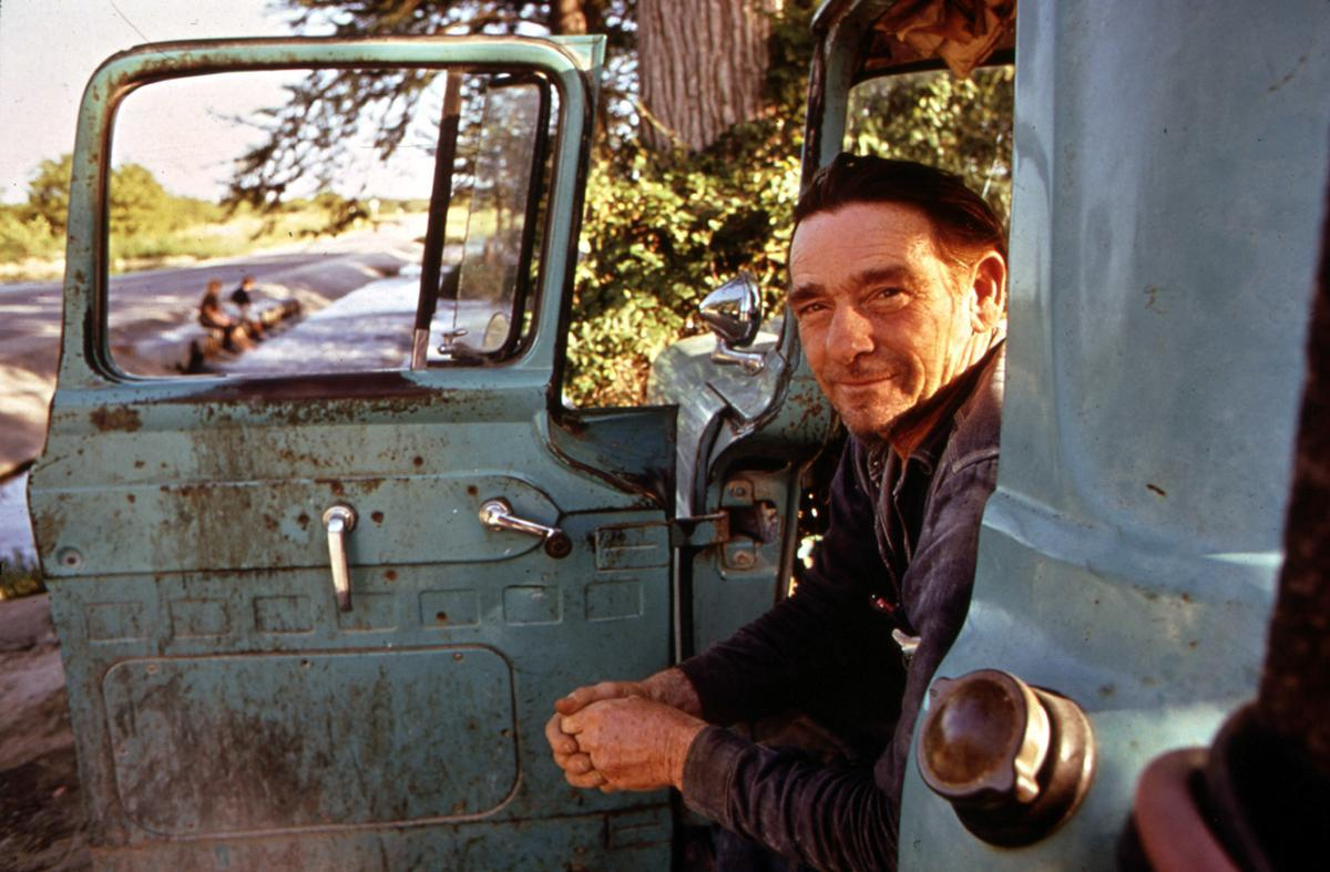 Woodrow Wilson, one of Leakey's local characters, in his pickup, June 1972. He never works, but sits staring at the river from 7 a.m. until sunset.
