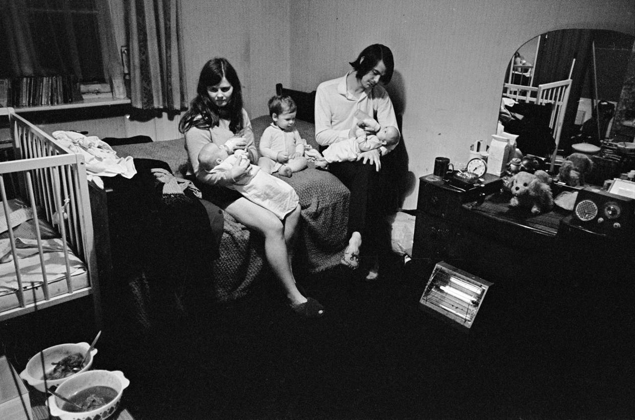 Young family living in one room South London 1972