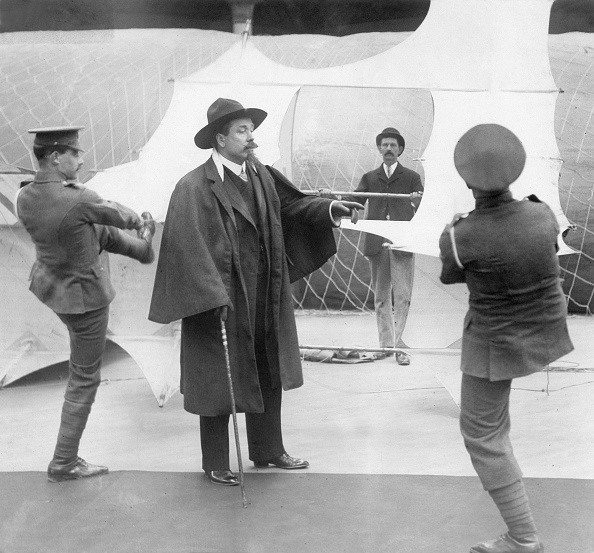 Cowboy, Bison hunter, Scout, showman, USA - presents his kite on an aviation exhibition- 1909