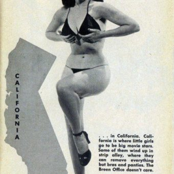 Vintage Guide for Strip-teasers: Bettie Page Illustrates What Strippers Are Allowed To Show By State