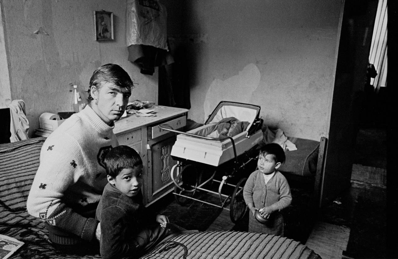 Family living in one room Liverpool 8 1970