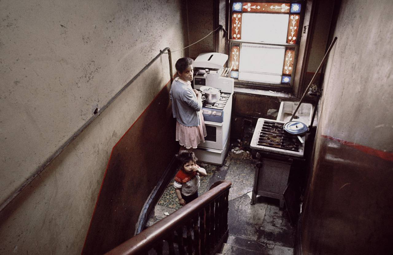 Kitchen on stairs, Liverpool 8 1969