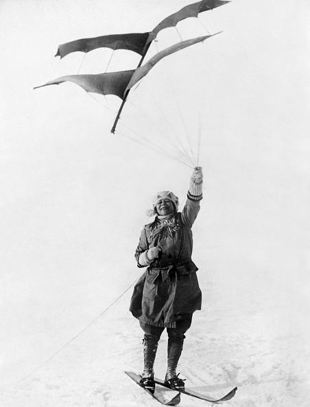 Norwegian woman skier being pulled by a kite - 1924