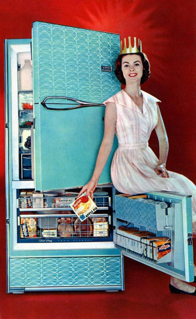 Now Frigidaire Brings You Freezing Without Frosting 1959 Frost-Proof Refrigerator-Freezer stamped Crown Electric & Service Co., 213 West James St., Lancaster, PA postmarked 1959