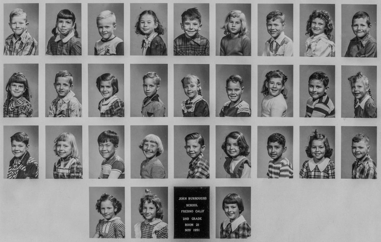 2ND GRADE, November 1951, Fresno, CA John Burroughs Elementary School, Fresno City Unified School District, Fresno, California. I be top row third from left. My first ever girl friend, Judy Kelly, the blond the third photo to the right of me. Directly below me is Sharon Stasio and below her is Yukio Mizumoto. Upper left hand corner is Mike Mauldin who I remember as an exceptionally calm and nice kid