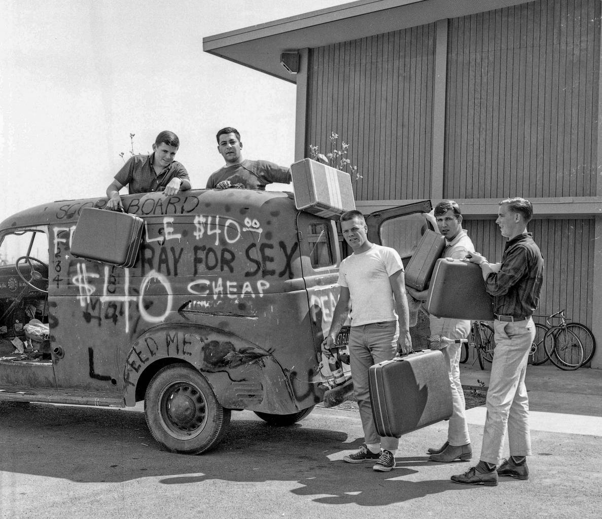 Shark Mobile Road Trip 1966 Not really. The guys were just joking in this staged photo back in 1966. Students at Fresno State College in one of the dormitories just west of the campus. This old Dodge panel truck was just for limited local travel. From pictures I took in my college years in Fresno, California.