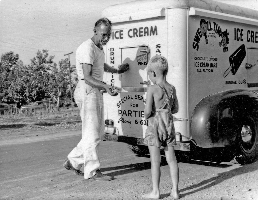 """Swell Time Ice Cream East Fresno circa 1950 Lance buying a nickle baggy. Back in 1950 when """"street pushers"""" sold ice cream, not drugs. In Fresno, California. (scanned negative) (photo taken by Andrew L. Nix)"""