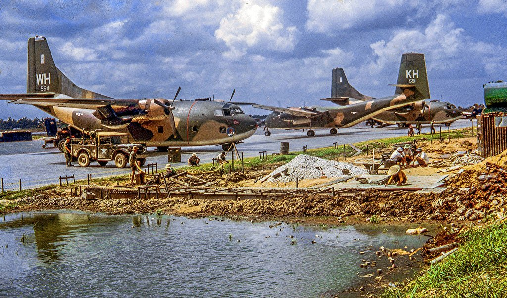 "Can Tho Airfield, Nov 1968 Regional ""air liners"" in the Mekong Delta of Vietnam in the year 1968."