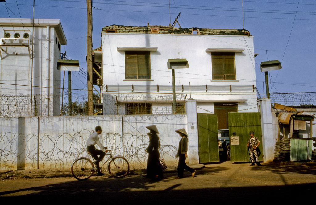 View of front (east) side of Embassy House In My Tho, Dinh Tuong Province, in the Mekong Delta of South Vietnam (IV Corps), as seen in late 1968.