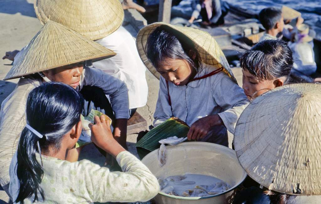 In My Tho on the Mekong River, Dinh Tuong Province, Vietnam in 1969.
