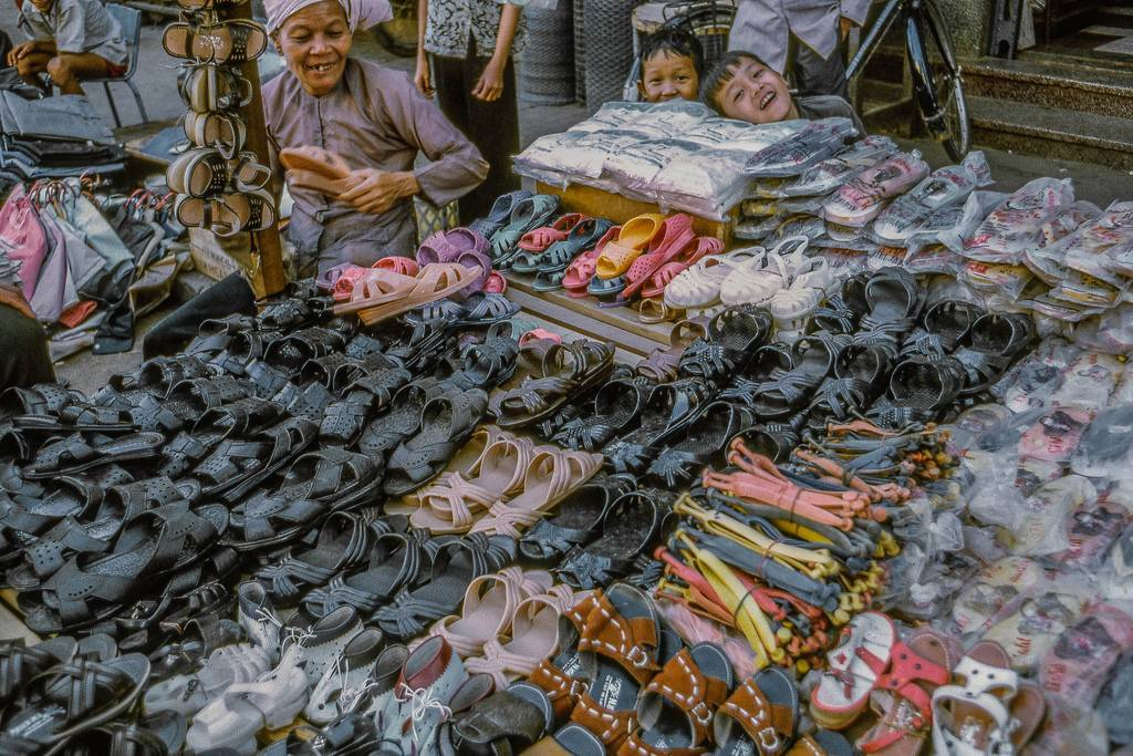 At the My Tho market in 1969. (Dinh Tuong Province in Vietnam's Mekong Delta) (scanned colour slide)