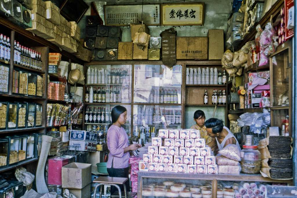 In My Tho's eastside commercial district in 1969. (Dinh Tuong Province, Vietnam).
