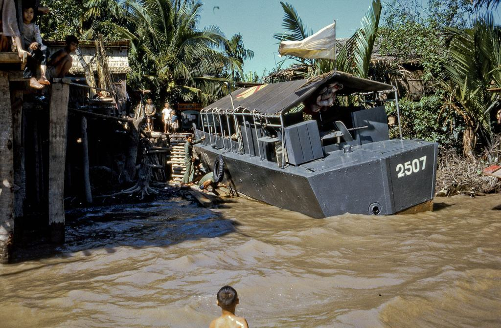 Jan1969 South Vietnamese war boat on the south shore of the Coconut Monks island in Vietnam's Mekong Delta near the city of My Tho.