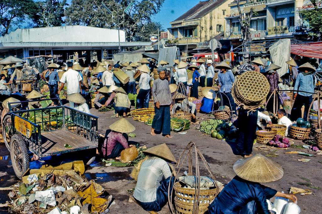 My Tho's downtown market in Dinh Tuong Province, Vietnam, in the year 1969.