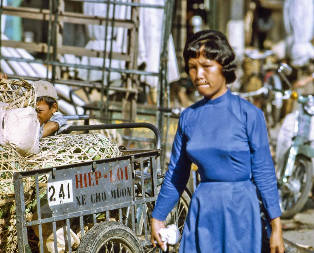 At My Tho's downtown market in Dinh Tuong Province, Vietnam, in the year 1969. (scanned colour slide)
