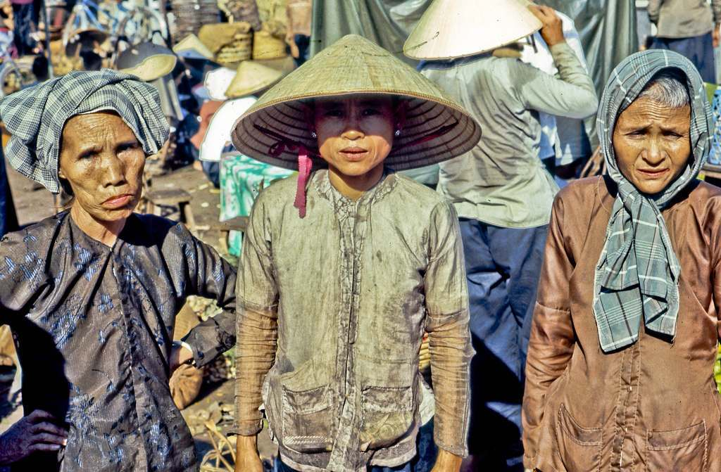 3 My Tho Produce Vendors 1969 At the My Tho market in the year 1969 (Dinh Tuong Province in Vietnam's Mekong Delta).
