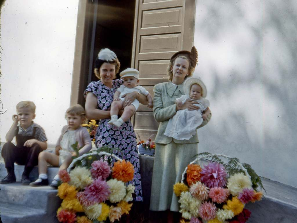 At the Lutheran Church in Easton in 1948 My mom (on right) and her best friend in the small town of Easton south of Fresno, California, late in the fall of 1948. My mom is holding my little sister and I'm sitting far left on the steps next to Barbara Lynn.