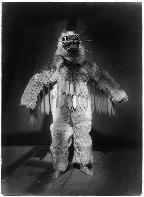 Title: Hamasilahl--Qagyuhl Creator(s): Curtis, Edward S., 1868-1952, photographer Date Created/Published: c1914 November 13. Medium: 1 photographic print. Summary: Ceremonial dancer, full-length portrait, standing, wearing mask and a fur garments during the Winter Dance ceremony.