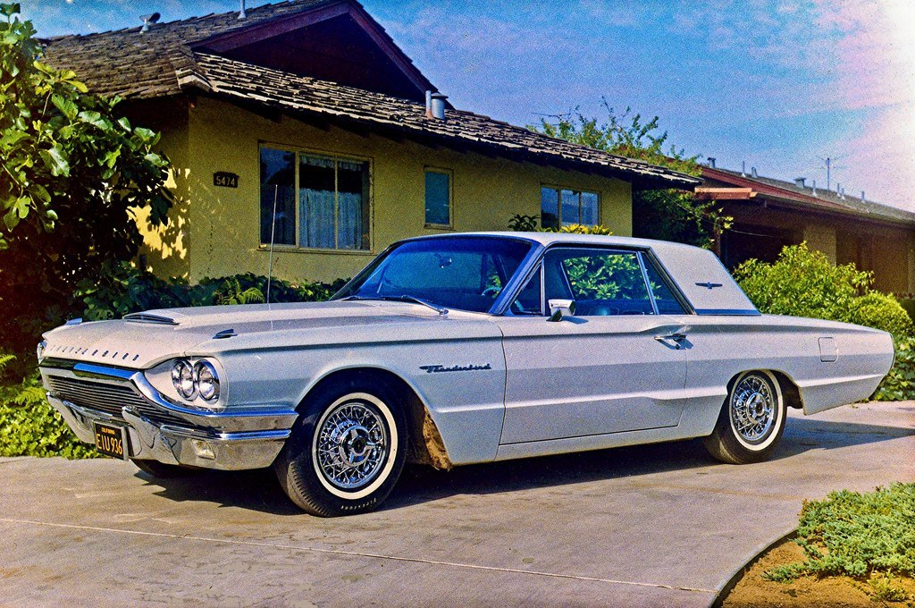 Mom's 1964 bay blue T-Bird in May 1965--img002 My mom bought it used in 1965 complete with the fancy chrome wire wheels. It had been in a minor wreck so she got a great deal. It was a very reliable, trouble free car, not always the case back in those days, She put a lot of miles on it and kept it meticulously clean. Then in 1971 she fell in love with a Mercedes 250 and the T-Bird went bye-bye.