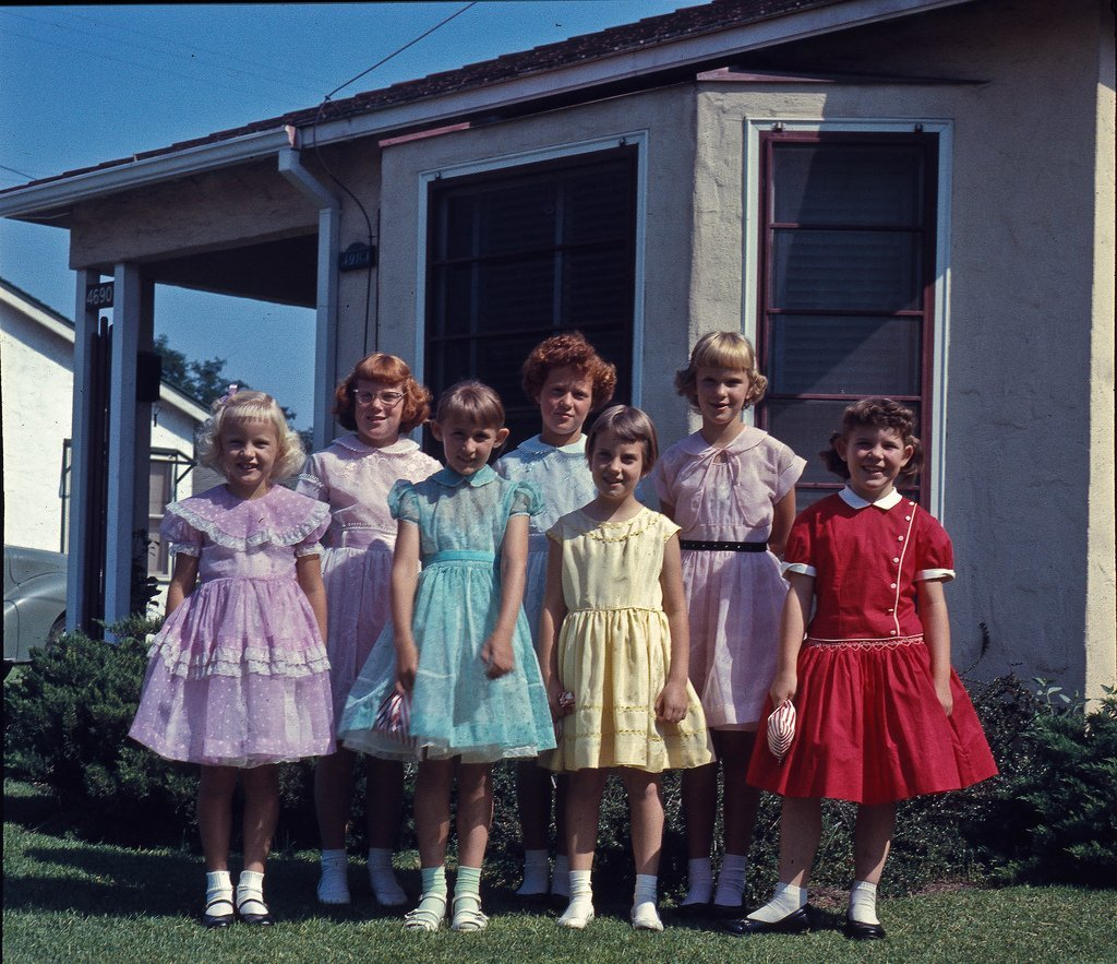 Boomer Larvae circa 1956 Nancy with her friends. In our front yard at 4690 East White in Fresno, California