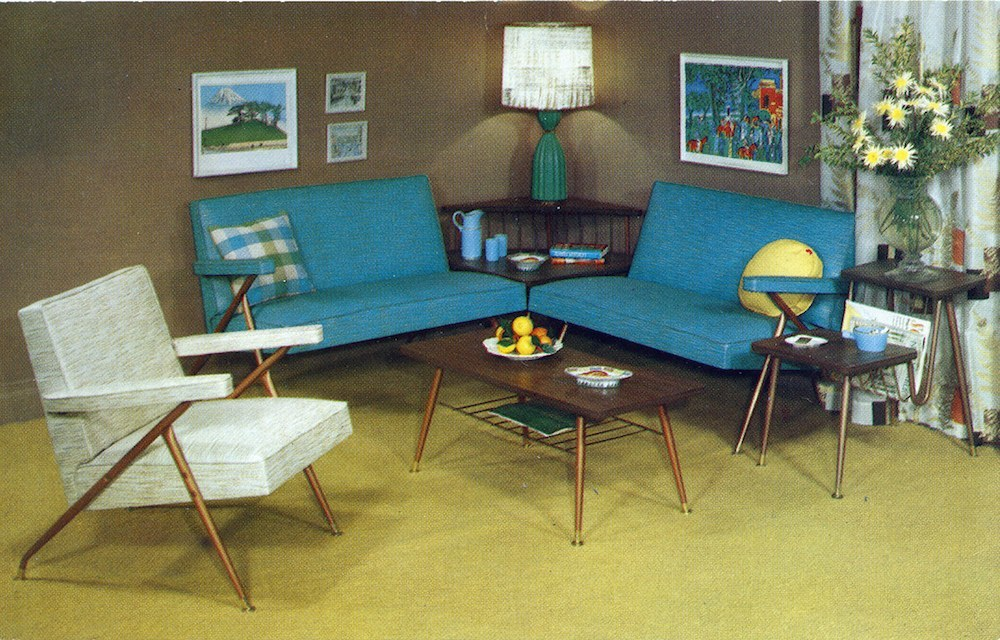 Baumritter Furniture advertising card Care-Free Home Beauty on a Budget At last we can bring you stunning and practical furniture for your living room, den, study or porch at this unheard of price Complete 6-room $129.50
