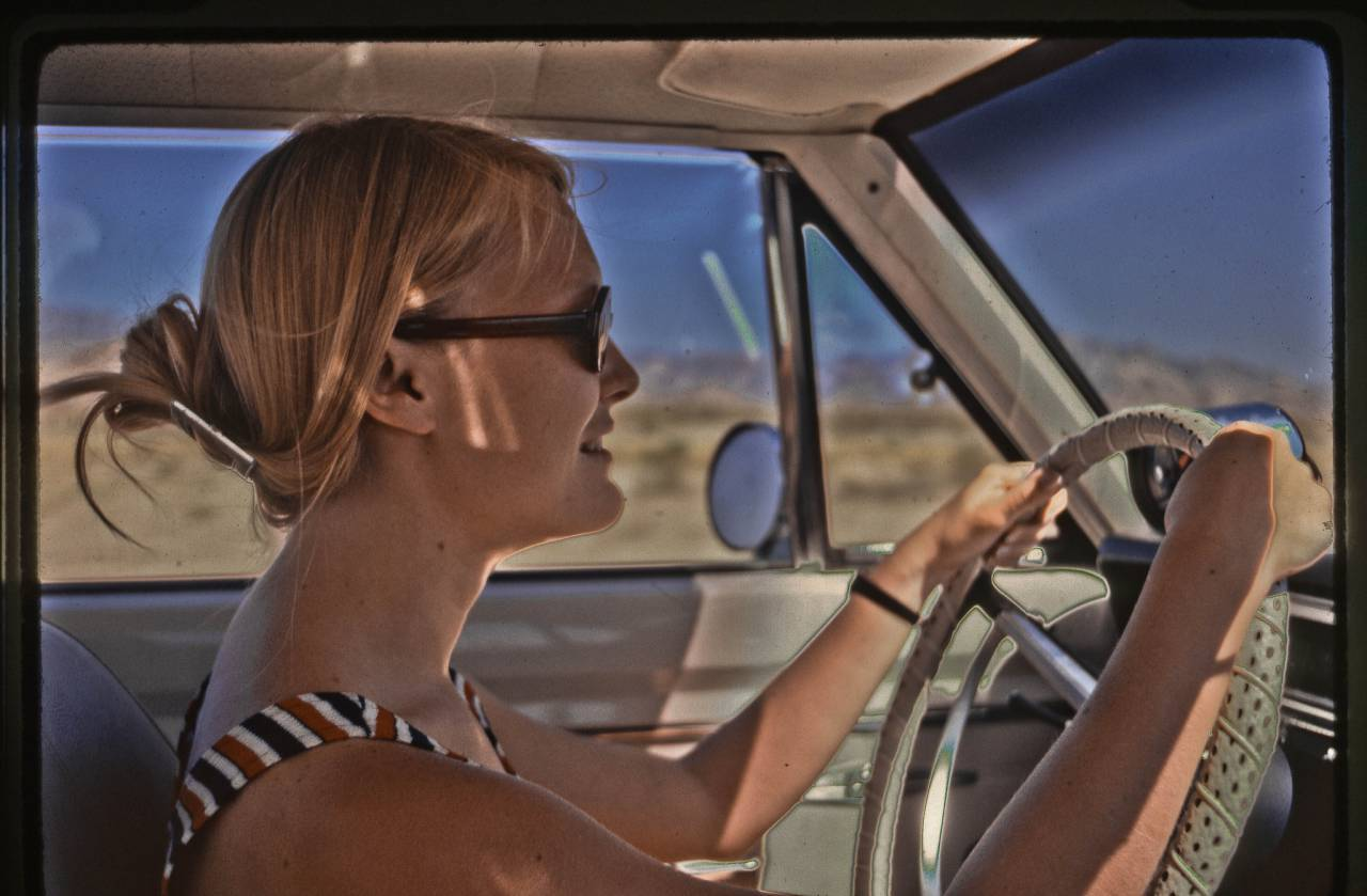 New bride at the wheel, April 1972 My new bride driving my '68 Dodge Dart GTS headed for Hoover Dam on a honeymoon tour that eventually got us down to San Felipe, Baja. She was number 3 of the 4 most significant women in my life. Even though our marriage only lasted 9 years we parted as friends and she remains a dear friend to this day staying in touch via E-mail and an occassional phone call.