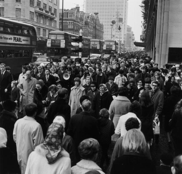 Christmas shoppers in Oxford Street 1964.