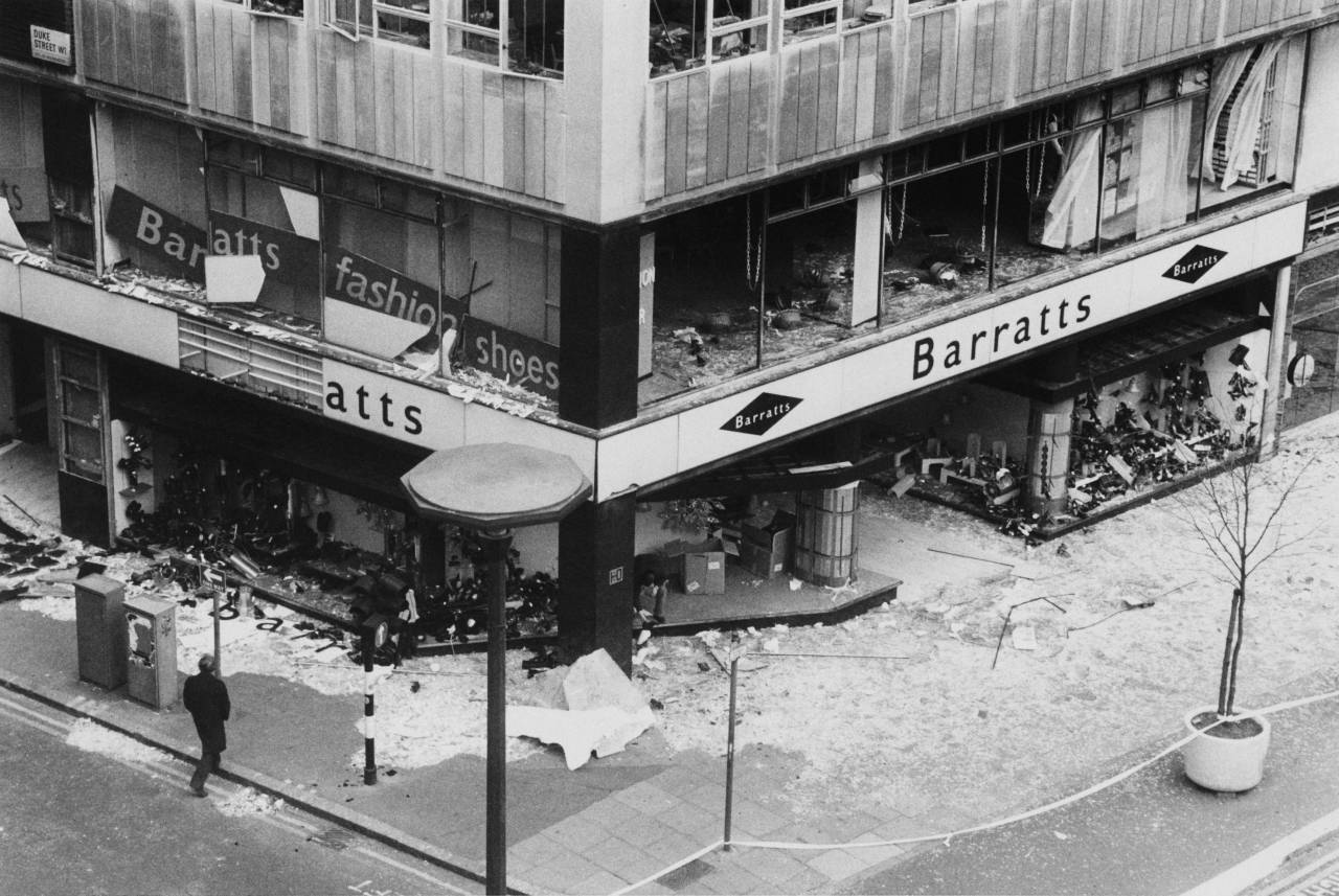 The scene on the day following an IRA (Provisional Irish Republican Army) car bomb explosion in Oxford Street, London, 20th December 1974. Three people were injured in the blast. (Photo by Central Press/Hulton Archive/Getty Images)