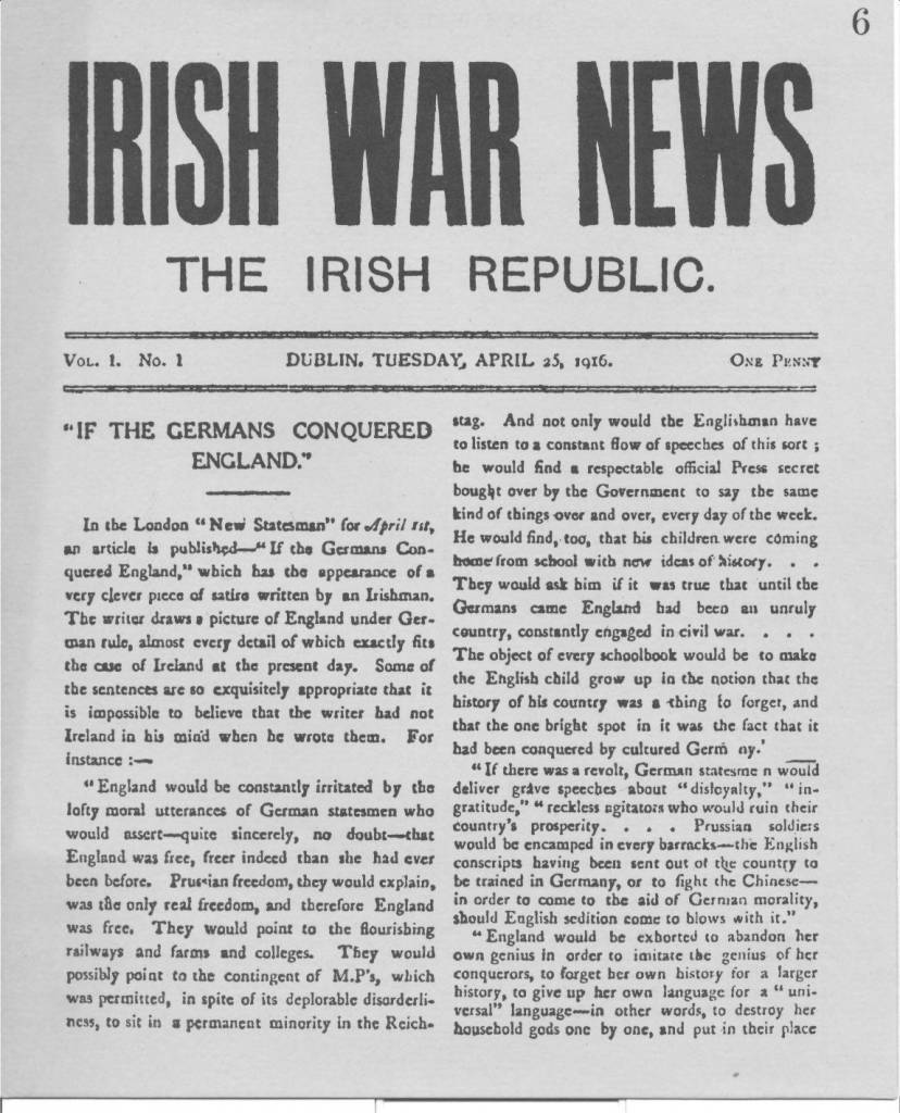 Irish War News, produced during the Rising
