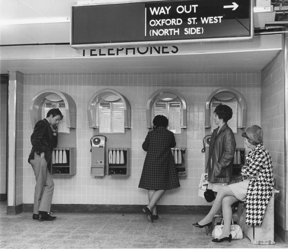 On the telephone Oxford Circus 1968