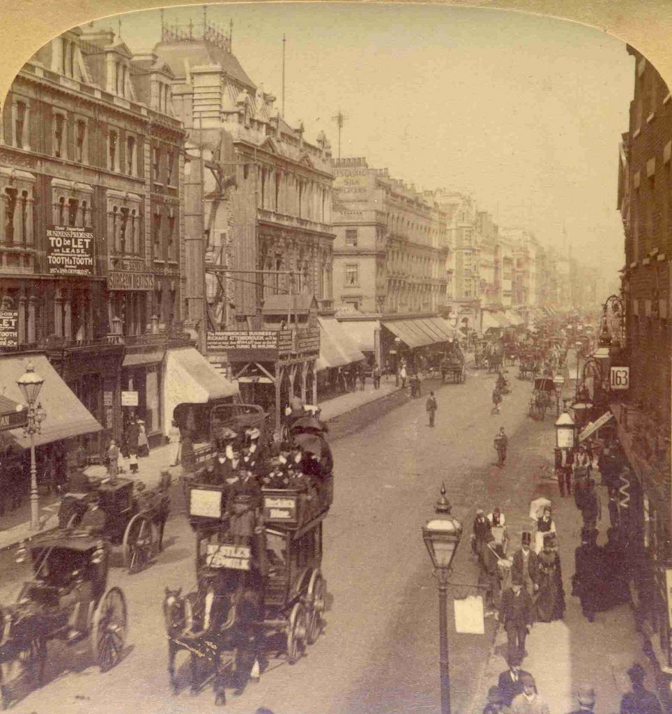 Oxford Street, London, England An 1887 stereoview image published by J.F. Jarvis and sold by Underwood & Underwood