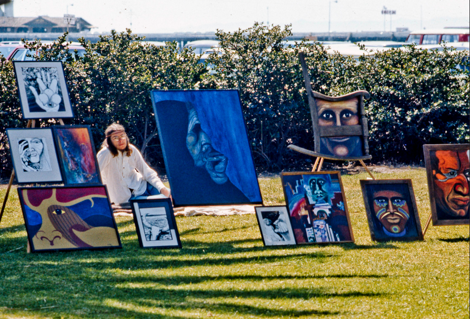 """Hawking Art in March of 1971--img119 On weekends in the 1970's artists could set up""""shop"""" near the beach in Santa Barbars to sell their art work."""