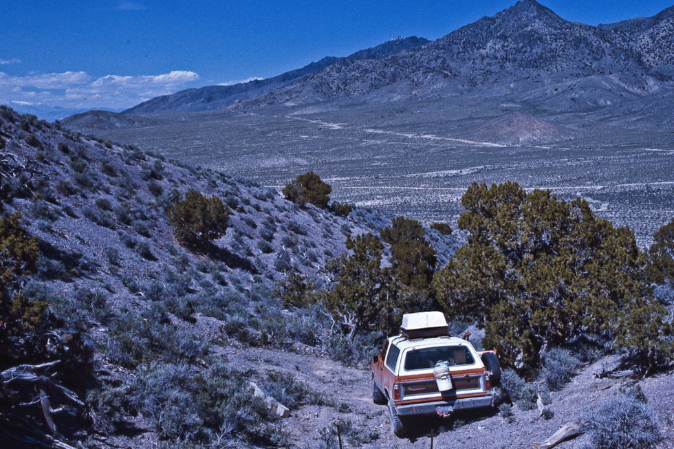 Jeep Trail in northern Nevada - May 1977 Inching down a very rough trail to flat lands below. The Ramcharger made it easy.