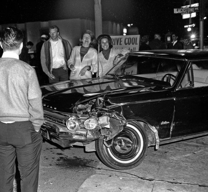 These were free-lance pictures taken for Fresno's newspaper, the Fresno Bee from about 1960 through to about 1966. 1200 Block Blackstone Fresno in about 1965 This car is a near new 1965 Oldsmobile Cutlass at Blackstone and Olive in Fresno, California, in about 1965.