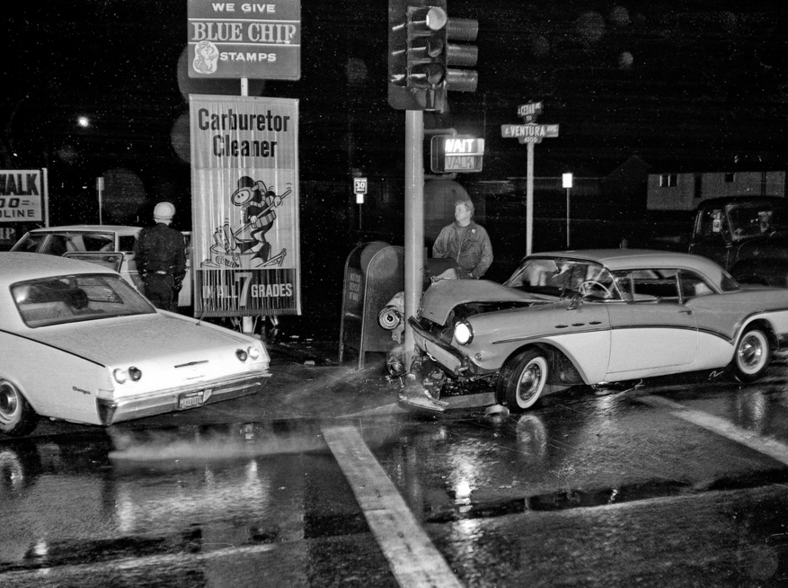 Ventura & Cedar Fresno circa 1965--04 A 1957 Buick Special, single car accident in 1965 at Ventura & Cedar Ave, Fresno, California.
