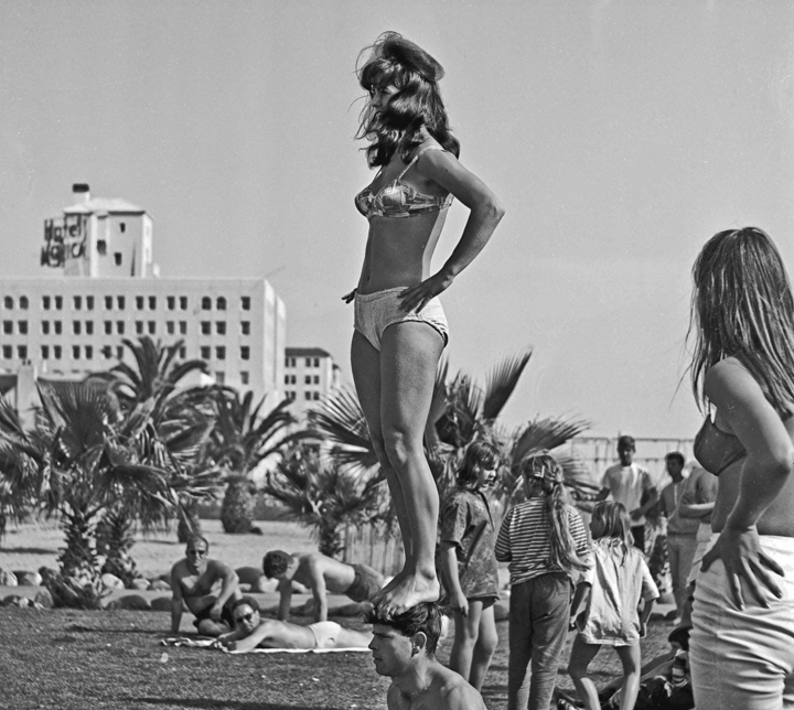 "WOMAN ON YOUR MIND!!! -- 28 March 1964 In the park adjacent to ""Muscle Beach"" and south of the Santa Monica Pier on March 28th, 1964. Photo project for state college photo journalism class back in 1964."