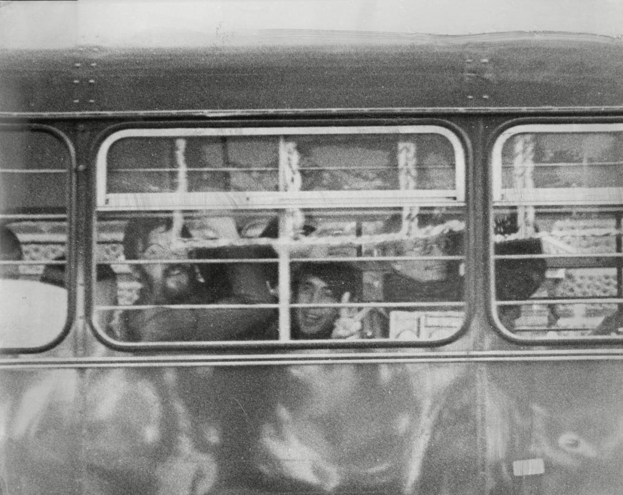 Off To Prison By Bus.. Left To Right Felix Dennis Richard Neville And James Anderson. The Three Editors Of Oz Magazine Were Jailed For Publishing An Obscene Article. Photo by Ronald Fortune / Associated Newspapers / Rex Features (1302418a)