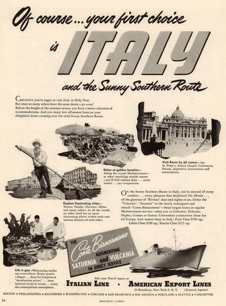Travel Adverts From An April 1950 Issue Of Holiday Magazine