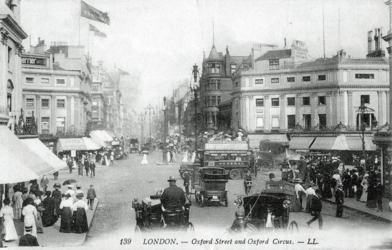 a Louis Levy postcard from about 1904 Oxford Circus towards New Oxford St