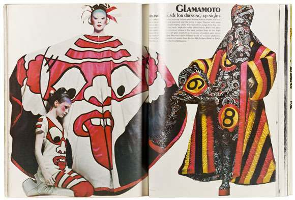 Kansai Yamamoto designs photographed by Clive Arrowsmith, Vogue UK, October 1971