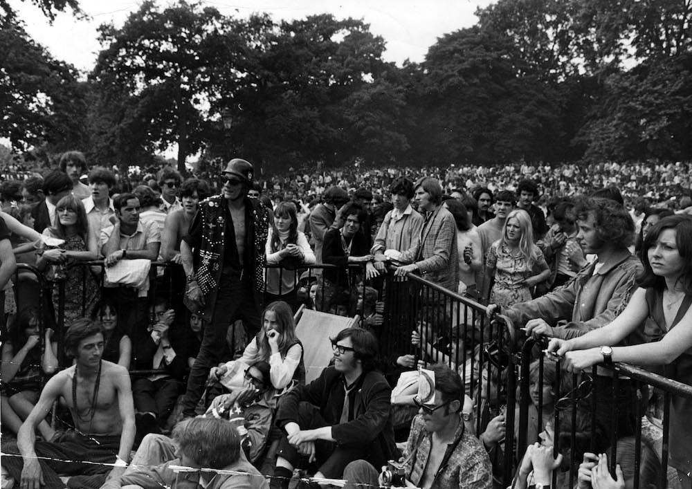 Mandatory Credit: Photo by Mike Randolph/REX/Shutterstock (28139f) Hells Angels - The Rolling Stones play their 1969 Hyde Park Concert in memory of recently deceased band founder, Brian Jones. VARIOUS - 1969