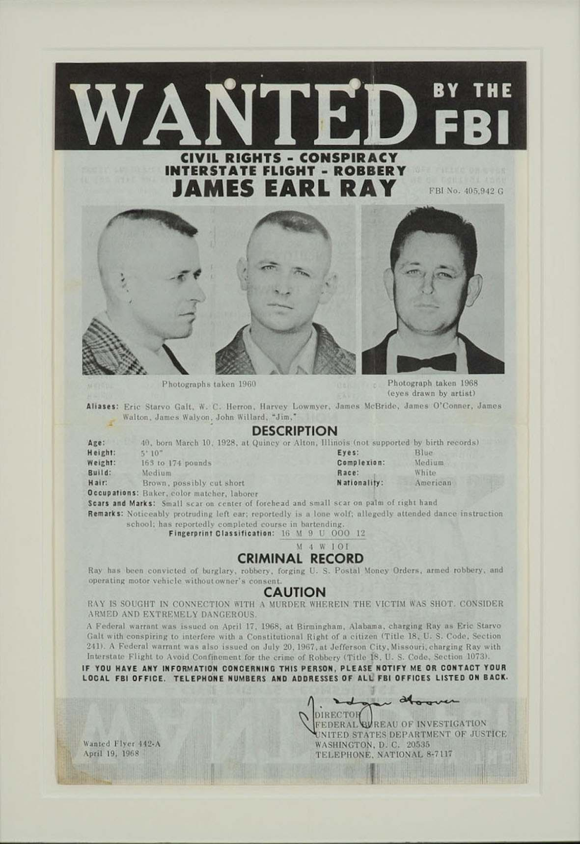1 James Earl Ray Wanted Poster Flashbak