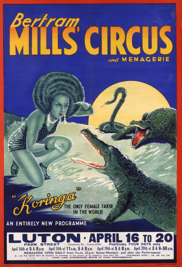 "Poster for Bertram Mills Circus and Menagerie - ""Koringa"" from 1938."