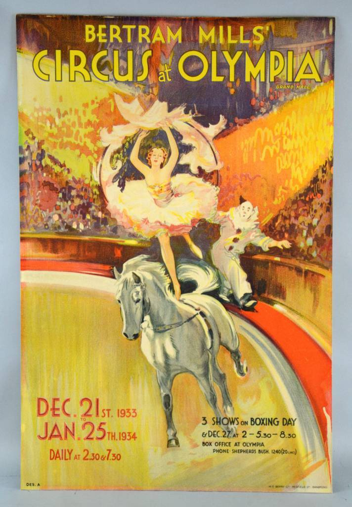 Bertram Mills Circus at Olympia Grand Hall December 21st 1933 to Jan 25th 1934.