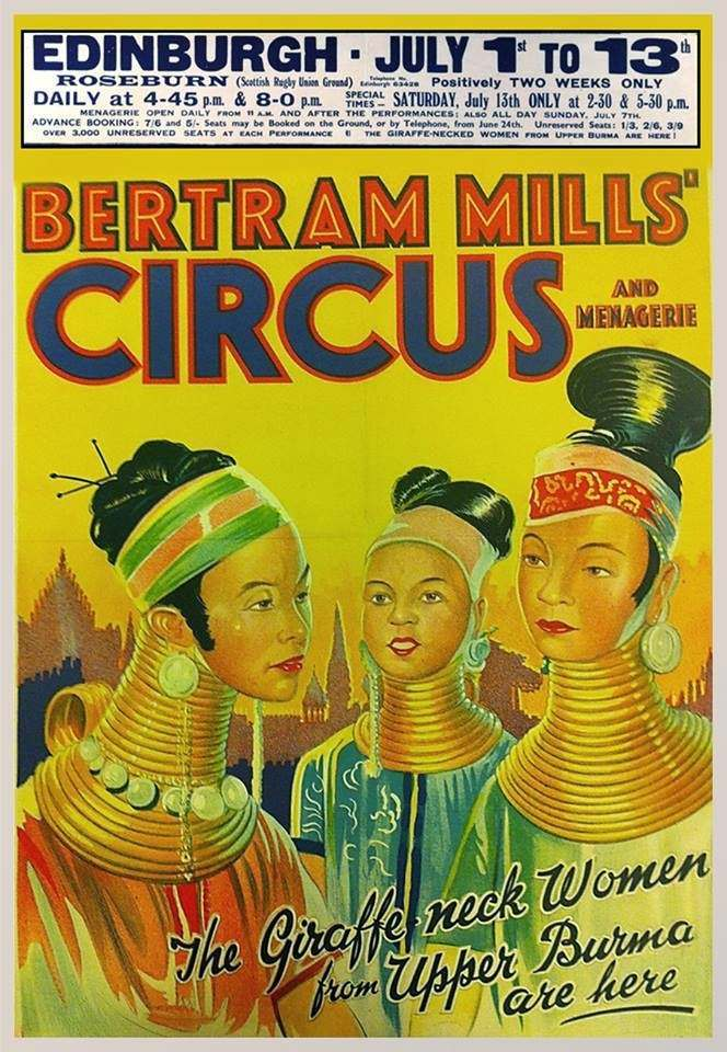 Poster featuring the Burmese long-necked 'ladies'. c.1938.