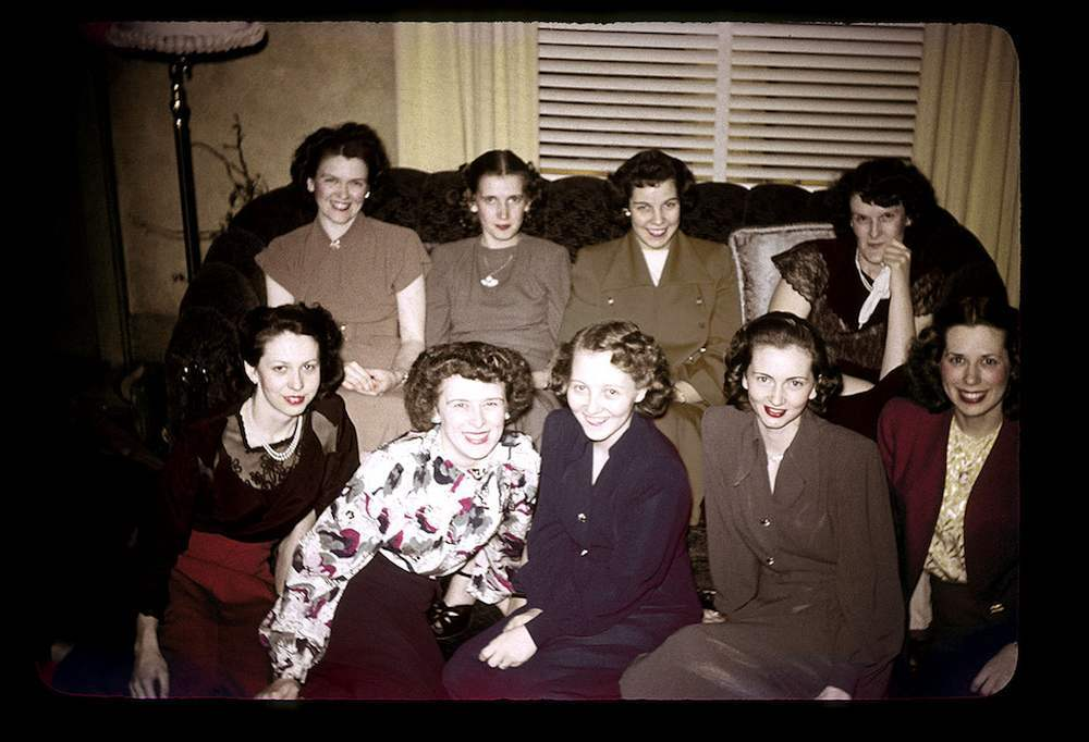 Betty's Xmas Party, Dec 20, 1948 (Betty is in the first row to the extreme right)