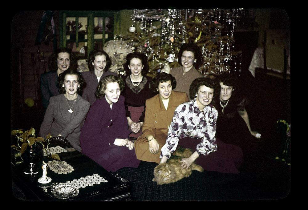 Betty's Xmas Party - Girls by the Tree, Dec 20, 1948 (Betty is the first one in the top row)